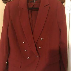 WHBM Burgundy Double Breasted Jacket